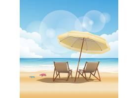 夏天两张沙滩椅海滩背景图片