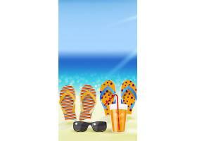 卡通拖鞋夏天海滩背景图片