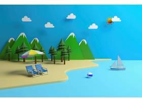 夏天海滩模型背景图片