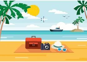 扁平化夏天海滩度假休闲背景图片