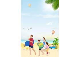 夏天扁平化人物旅游海滩背景图片