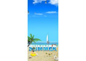 夏天美女海滩背景图片
