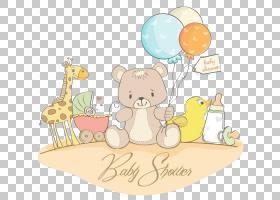 儿童贺卡婴儿,素描卡通熊PNG剪贴画爱,卡通人物,食品,动物,文本,图片
