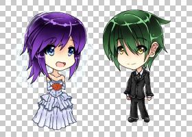 动漫赤壁绘婚礼婚姻,动漫PNG剪贴画紫色,黑色头发,紫罗兰色,漫画,