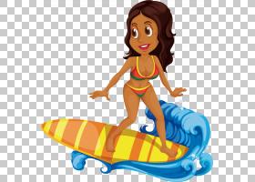 冲浪卡通,海上冲浪黑色美女PNG剪贴画黑头发,摄影,黑白色,泳装,虚