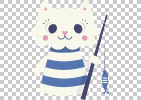 猫玩和玩具鼠标狗,可爱卡通猫PNG剪贴画卡通人物,蓝色,白色,儿童,