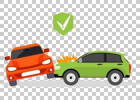 汽车交通碰撞事故运输保险,卡通车祸PNG剪贴画卡通人物,小型汽车,