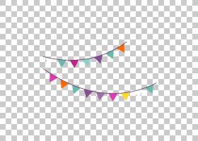 生日聚会图标,卡通生日聚会挂旗,黑色和什锦颜色旗布PNG剪贴画卡