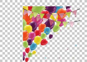 生日蛋糕气球贺卡,卡通圣诞新年假期气球彩旗PNG剪贴画功能区,祝