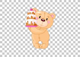 泰迪熊卡通,熊抱着蛋糕PNG剪贴画动物,carnivoran,橙色,婚礼蛋糕,