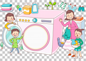 洗衣机洗衣服,卡通洗衣机PNG剪贴画卡通人物,电子产品,儿童,文本,