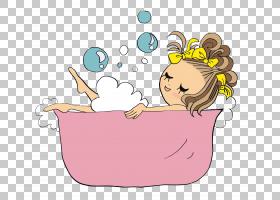 浴缸绘图沐浴卡通,卷发粉红色浴缸PNG剪贴画的小女孩儿童,家具,时