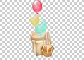 祝你生日快乐贺卡愿望,手绘气球和蛋糕PNG剪贴画水彩画,食品,画,