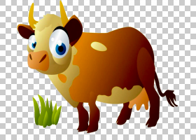 牛小牛卡通绘图,牛尾巴PNG剪贴画哺乳动物,画,动物,carnivoran,手
