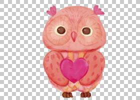 猫头鹰欧几里德水彩画,猫头鹰PNG剪贴画心,脊椎动物,生日快乐矢量