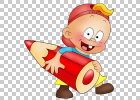 新年前夕写作笑话,小男孩用铅笔卡通,男孩抱着红色铅笔PNG剪贴画