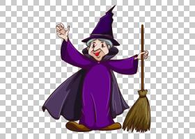巫师与巫师魔术师巫术,魔法扫帚在卡通PNG剪贴画中的老巫婆卡通人