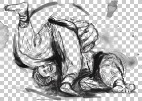 柔道武术巴西柔术,柔术,摔跤男子PNG剪贴画墨水,哺乳动物,画,中国