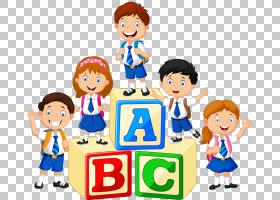 学龄前儿童,一群孩子,ABC上的孩子阻止artwrok PNG剪贴画动物,团