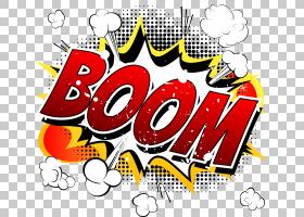 卡通漫画漫画书,BOOM漫画爆炸云,多彩多姿的繁荣词PNG剪贴画文本,图片