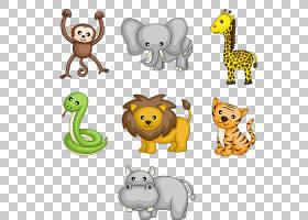 卡通野生动物皇族,可爱的动物PNG剪贴画电视,哺乳动物,画,猫像哺