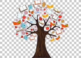 书树阅读,彩色书知识树,树与书PNG剪贴画颜色飞溅,文本,树枝,棕榈