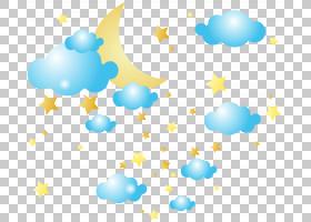 云星月亮,月亮云和星星,黄色星星和月亮与蓝云PNG剪贴画蓝色,剪贴