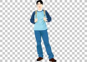 亲爱的RED背包,手绘卡通休闲男子背着背包PNG剪贴画水彩画,t恤,蓝