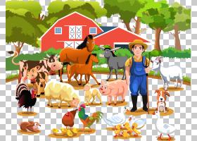 农场畜牧业农业,快乐的农民和农场牲畜PNG剪贴画杂项,食品,生日快