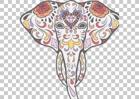 卡拉维拉大象日的死骷髅贴花,大象PNG剪贴画爱情,动物,脊椎动物,