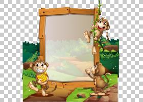 卡通,小猴子森林宣传板PNG剪贴画哺乳动物,木板,蹒跚学步,脊椎动