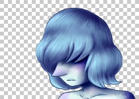 粉丝艺术珍珠卡通头发,蓝珍珠PNG剪贴画紫色,脸,黑色头发,紫罗兰
