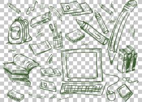 绘图写生簿卡通素描,手绘书包电脑铅笔元素PNG剪贴画水彩绘画,角
