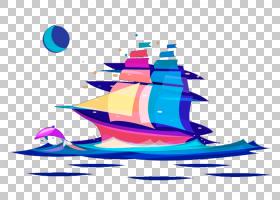 船帆船绘图,光滑航行PNG剪贴画颜色,卡通,运输,船舶,月亮,帆船,光