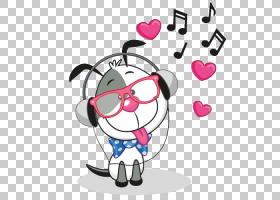 耳机版税,小狗听音乐PNG剪贴画爱情,动物,心脏,卡通,虚构人物,音