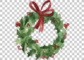 花圈圣诞节,手绘圣诞花环PNG剪贴画水彩画,叶,装饰,生日快乐矢量