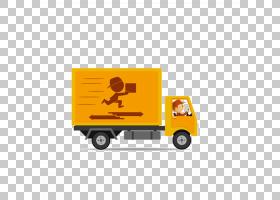 范Car Car Truck Delivery,卡通黄色快递卡车PNG剪贴画卡通人物,