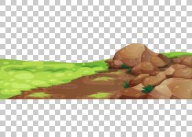 草和石头地面,棕色岩石包围绿草PNG剪贴画食品,手,卡通,封装的Pos