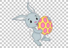 复活节兔子,复活节兔子与黄色蛋透明,灰色兔子拿着鸡蛋PNG剪贴画