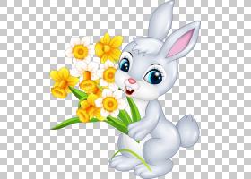 复活节兔子卡通兔,一只小兔子与花PNG剪贴画动物,摄影,电脑壁纸,