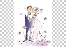 婚礼卡通漫画,婚礼人PNG剪贴画爱,紫色,其他,结婚周年纪念,哺乳动图片