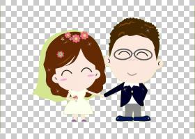 婚礼卡通雕像,可爱的卡通婚礼肖像PNG剪贴画爱,孩子,假期,友谊,海