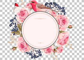 婚礼邀请花欧几里得,鲜花和边界,粉红色玫瑰花包围的鸟PNG剪贴画