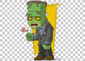 弗兰肯斯坦的怪物僵尸,僵尸拿着花PNG剪贴画脊椎动物,插画家,虚构图片