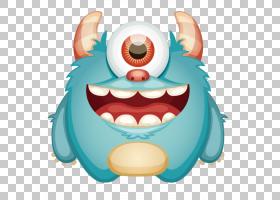 怪物卡通Shutterstock微笑,时尚设计卡通蓝色怪物PNG剪贴画卡通人