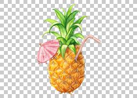 果汁冰沙菠萝绘图水果,菠萝,菠萝与秸秆PNG剪贴画画,食品,手,热带