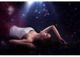 女人,美丽的,女孩,模特,布满星星的,天空,穿衣,壁纸,图片