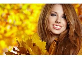 女人,时尚,秋天,脸,叶子,季节,壁纸,