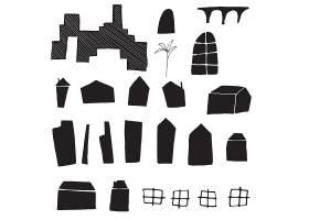 抽象个性城市剪影无缝图案矢量设计