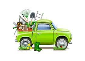 绿色卡车和农场工具插画设计